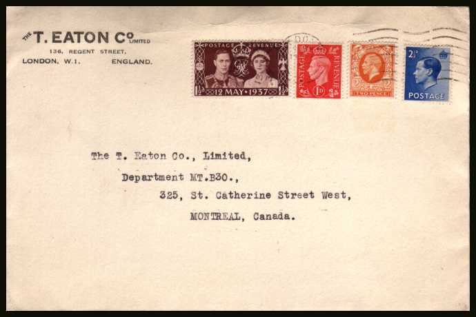 view larger back view image for Coronation single on a business cover bearing three other stamps cancelled with a feint but readable LONDON ''wavy line'' cancel dated 13 MAY 1937