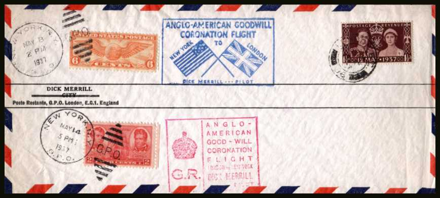 view larger back view image for ANGLO-AMERICAN GOODWILL CORONATION FLIGHT from New York to London and then back to New York bearing the Coronation single cancelled with (as always) a slightly indistinct CDS and the relevant USA cancels on an unaddressed airmail envelope. A famous FDC!