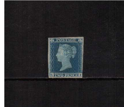 view larger image for SG 14 (1841) - 2d Blue from Plate 4  lettered 'S-I'<br/>A mint stamp with full original gum, almost four margins, close at lower right corner. <br/>SG Cat �6250