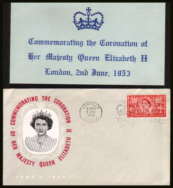 view larger back view image for Coronation 2½d Carmine-Red single on an unaddressed illustated FDC (together with nice insert card) cancelled with a UCKFIELD - SUSSEX