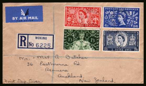 view larger back view image for Coronation set of four on a hand addressed plain Registered FDC cancelled with a