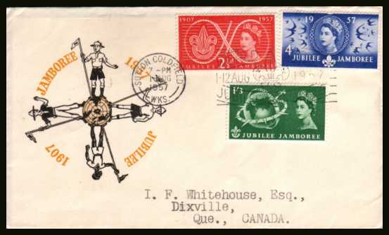 view larger back view image for World Scout Jubilee Jamboree set of three on a neatly typed addressed illustrated FDC cancelled with the SUTTON COLDFIELD
