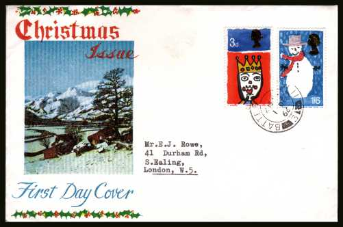 view larger back view image for Christmas set of two on a CONNOISSEUR illustrated FDC with