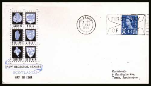 view larger back view image for SCOTLAND - 4d Ultramarine <b>PHOSPHOR</b> on an illustrated ''Regional Emblems'' FDC with printed address cancelled with a GLASGOW FDI slogan dated 7 FEB 1966.