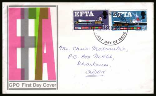 view larger back view image for EFTA (European Free Trade Association) on a hand addressed official GPO colour FDC cancelled with
