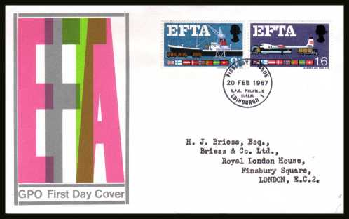 view larger back view image for EFTA (European Free Trade Association) <b>PHOSPHOR</b> on a typed address official GPO colour FDC cancelled with a GPO PHILATELIC BUREAU - EDINBURGH FDI