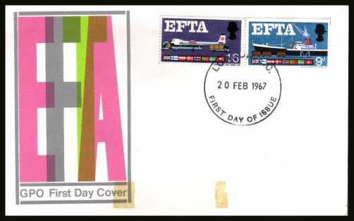 view larger back view image for EFTA (European Free Trade Association) <b>PHOSPHOR</b> on unaddress official GPO colour FDC cancelled with a large
