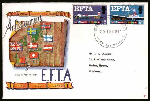 view larger back view image for EFTA (European Free Trade Association) <b>PHOSPHOR</b> on a typed address CONNOISSEUR colour FDC cancelled with HARROW & WEMBLEY large FDI