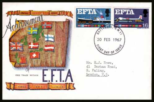 view larger back view image for EFTA (European Free Trade Association) <b>PHOSPHOR</b> on a typed address CONNOISSEUR colour FDC cancelled with a BATTERSEA S.W.11  large FDI