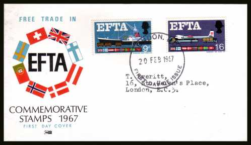 view larger back view image for EFTA (European Free Trade Association) <b>PHOSPHOR</b> on a typed address PHILART colour FDC cancelled with a LONDON W.C. large FDI