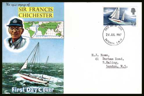 view larger back view image for Sir Francis Chichester's World Voyage single on CONNOISSEUR typed addressed illustrated FDC cancelled with a BATTERSEA S.W.11 FDI cancel dated 24 JUL 1967