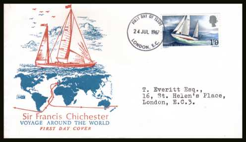 view larger back view image for Sir Francis Chichester's World Voyage single on a neatly typed addressed PHILART colour illustrated FDC cancelled with a LONDON E.C. FDI dated 24 JUL 1967