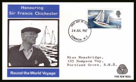 view larger back view image for Sir Francis Chichester's World Voyage single on WESSEX - PURE NEW WOOL logo with typed addressed illustrated FDC cancelled with a LONDON W.C. FDI dated 24 JUL 1967.