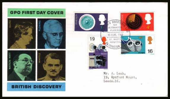 view larger back view image for British Discovery and Invention set of four on official GPO typed addressed FDC cancelled with a single central special cancel for PENICILLIN DISCOVERED - PADDINGTON W.2  dated 19 SEP 1967.