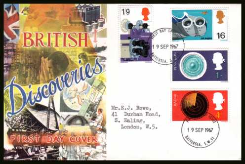 view larger back view image for British Discovery and Invention set of four on a CONNOISSEUR typed addressed FDC cancelled with a