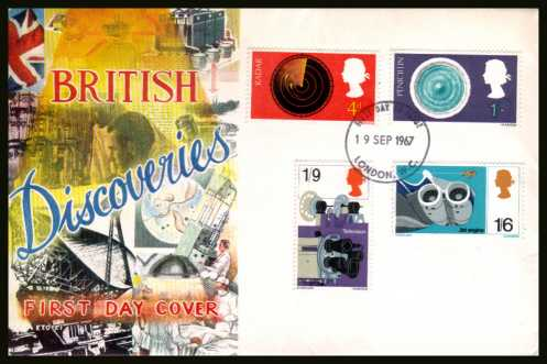 view larger back view image for British Discovery and Invention set of four on a CONNOISSEUR unaddressed FDC cancelled with a