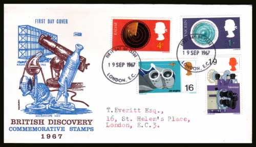 view larger back view image for British Discovery and Invention set of four on PHILART typed addressed FDC cancelled with a