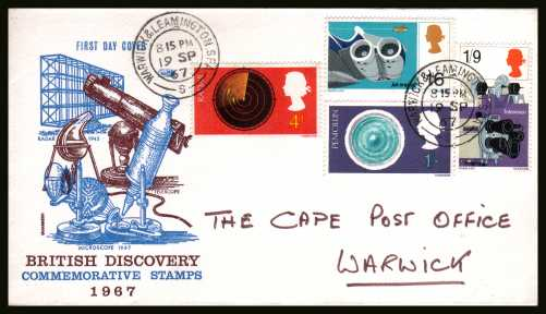 view larger back view image for British Discovery and Invention set of four on PHILART hand addressed FDC cancelled with a