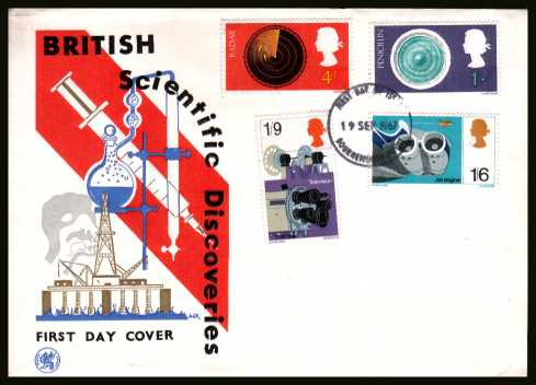 view larger back view image for British Discovery and Invention set of four on WESSEX unaddressed FDC cancelled with a