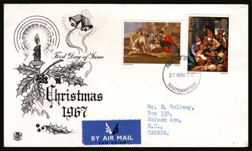 view larger back view image for Christmas 3d and 1/3d on illustrated STUART FDC with typed address cancelled with a SOUTHAMPTON FDI dated 27 NOV 1967.