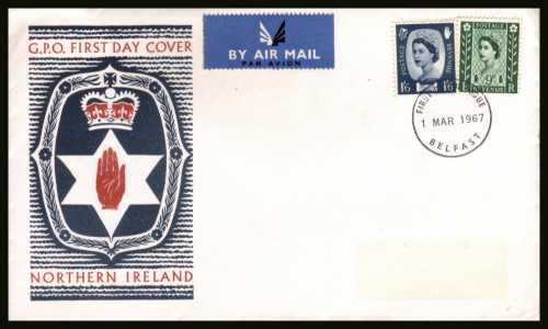 view larger back view image for NORTHERN IRELAND 9d and 1/6d on official unaddressed (label removed) GPO FDC cancelled with a BELFAST FDI cancel dated 1 MAR 1967.