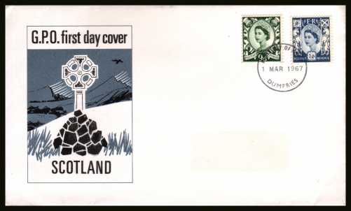 view larger back view image for SCOTLAND  9d and 1/6d on official unaddressed (label removed) GPO FDC cancelled with a BELFAST FDI cancel dated 1 MAR 1967.
