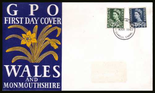view larger back view image for WALES  9d and 1/6d on official unaddressed (label removed) GPO FDC cancelled with a LLANELLI - CARMS. FDI cancel dated 1 MAR 1967.