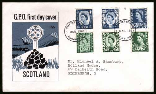 view larger back view image for The REGIONALS set of six on one official GPO FDC with typed address cancelled with an EDINBURGH FDI cancel dated 1 MAR 1967. Unusual.