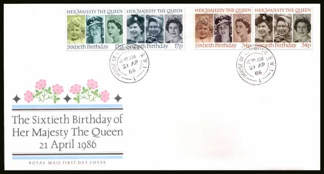 view larger back view image for 60th Birthday of The Queen set of four on official unaddressed Royal Mail FDC cancelled with a HOUSE OF COMMONS double ring CDS dated 21 AP 86. 