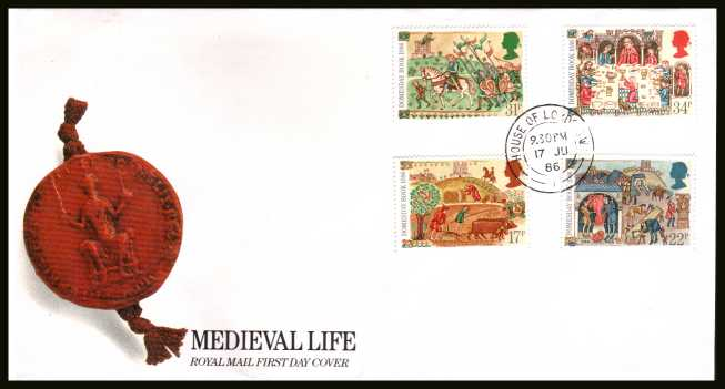 view larger back view image for Medieval Life - Domesday Book set of four on official unaddressed Royal Mail FDC cancelled with a HOUSE OF LORDS double ring CDS dated 17 JU 86. 