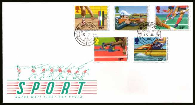 view larger back view image for Sport - Commonwealth Games  set of five on official unaddressed Royal Mail FDC cancelled with a HOUSE OF COMMONS double ring CDS dated 15 JL 86. 