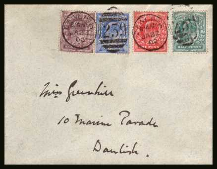 view larger back view image for First set of four cancelled with  duplex for DAWLISH dated JA 22 02. This cover serves no purpose other than philatelic and must have been done for the first day but sadly it was cancelled 3 weeks later!! Correctly cancelled �1250. Rare!