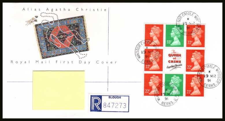 view larger back view image for Agatha Christie Machin booklet pane on an addressed Royal Mail FDC cancelled with four steel Royal Household CDS's reading WINDSOR CASTLE dated 19 MR 91.