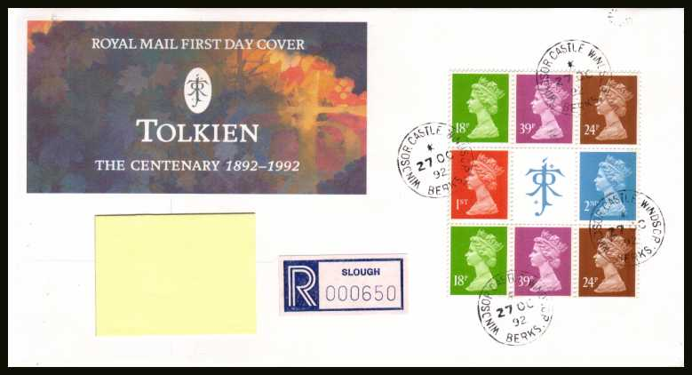 view larger back view image for Tolkien Machin booklet pane on an addressed Royal Mail FDC cancelled with four steel Royal Household CDS's reading WINDSOR CASTLE dated 27 OC 92.