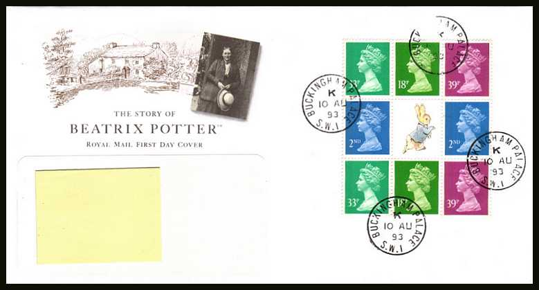 view larger back view image for Beatrix Potter booklet pane on an addressed Royal Mail FDC cancelled with four steel Royal Household CDS's reading  BUCKINGHAM PALACE dated 10 AU 93.