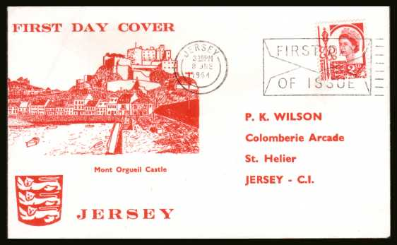 view larger back view image for JERSEY - 2�d Rose-Red on an illustrated FDC with printed address (printed same time as the design) cancelled with a JERSEY - FIRST DAY OF ISSUE slogan dated 8 JNE 1964.
