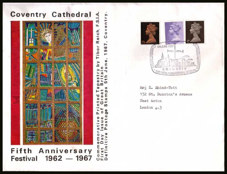 view larger back view image for Machin - 4d, 1/- and 1/9d on OFFICIAL Coventry Cathedral colour FDC UNADDRESSED cancelled with special COVENTRY CATHEDRAL handstamp. Note additional inscriptions above and below picture. A rare cover.