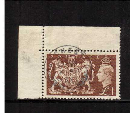 view larger image for SG 512 (1951) - �1 Brown NW corner single cancelled with a complete upright CDS for CHESTER. Unsual and attractive!