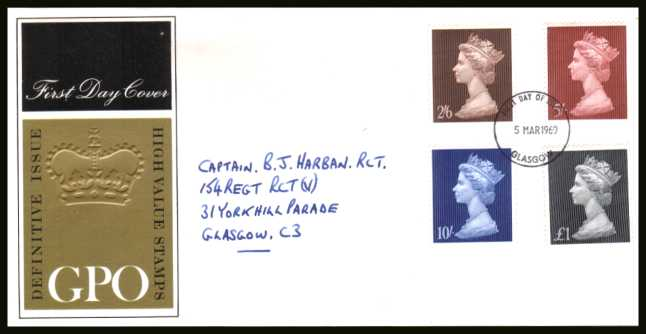 view larger back view image for Machin Head High Values set of four on a hand addressed GPO Official FDC cancelled with a