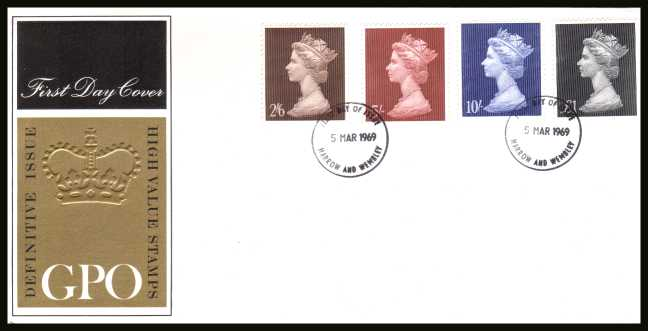 view larger back view image for Machin Head High Values set of four on UNADDRESSED  GPO Official FDC cancelled with two 