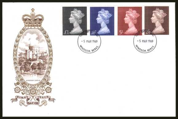 view larger back view image for Machin Head High Values set of four on an UNADDRESSED PHILART delux FDC cancelled with a WINDSOR - BERKS