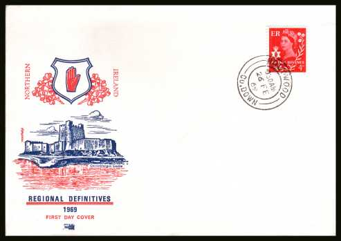 view larger back view image for NORTHERN IRELAND - 4d Bright Vermilion single on an unaddressed PHILART FDC cancelled with a HOLYWOOD - CO. DOWN double ring CDS dated 26 FE 69.
