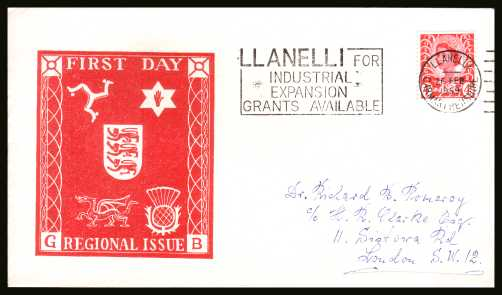 view larger back view image for WALES - 4d Bright Vermilion single on a hand addressed PHILART FDC cancelled with a slogan for LLANELLI - INDUSTRIAL EXPANSION GRANTS AVAILABLE dated 26 FE 69. Rare FDC!