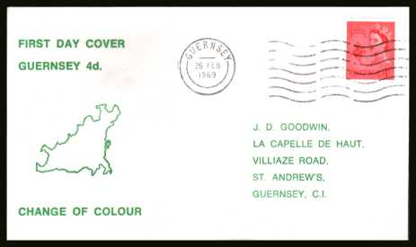 view larger back view image for GUERNSEY - 4d Bright Vermilion single on a printed address  FDC cancelled with a GUERNSEY ''wavy'' line dated 26 FE 69.