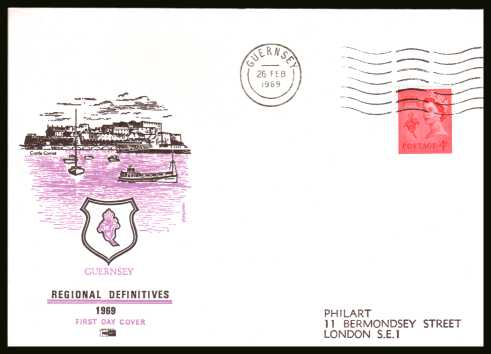 view larger back view image for GUERNSEY - 4d Bright Vermilion single on a printed address PHILART FDC cancelled with a GUERNSEY ''wavy'' line dated 26 FE 69.
