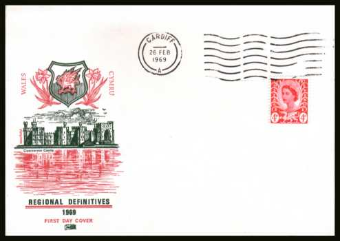 view larger back view image for WALES - 4d Bright Vermilion single on an unaddressed PHILART FDC cancelled with a CARDIFF ''wavy'' line dated 26 FE 69.