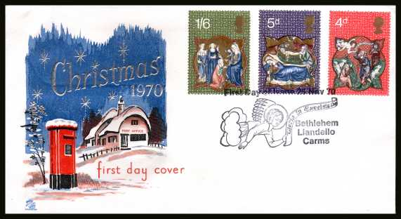 view larger back view image for Christmas set of three on an unaddressed STUART