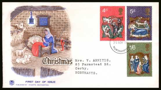 view larger back view image for Christmas set of three on a neatly typed addressed STUART