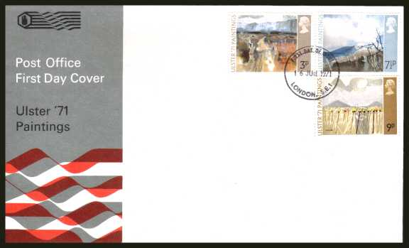 view larger back view image for Ulster Paintings set of three on an unaddressed official Post Office FDC cancelled with a LONDON S.E.1 FDI dated 16 JUNE 1971
