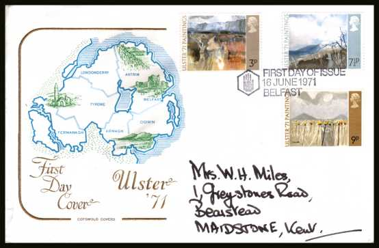 view larger back view image for Ulster Paintings set of three on a hand addressed COTSWOLD